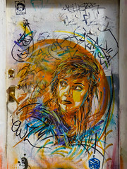 The Babe in the Bubble (Steve Taylor (Photography)) Tags: c215 art graffiti mural stencil streetart tag sticker door colourful orange blue purple lady woman uk gb england greatbritain unitedkingdom london baconstreet hair handle lock