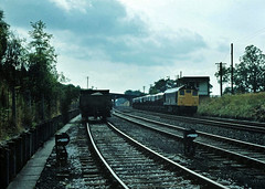 25059 arrives at Long Meg sidings on the Settle & Carlisle line with an Anhyrous Amonia train from Widnes.....Aug 1981 (the.chair) Tags: 25059 arriving long meg sidings with an anhydrous amonia workung from widnes aug 1981