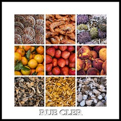 Rue Cler... (Ring of Fire Hot Sauce 1) Tags: paris ruecler food seafood shrimp scallops urchin oranges strawberries peaches mushrooms triptych