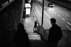 Night stop 159.365 (ewitsoe) Tags: tram bus stop stairs people silhouette monochrome bnw blackandwhite canon eos6dii 50mm street cityfreeway down warsaw poland polska cityscape city life freinds