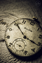 IMG_4817logo (Annie Chartrand) Tags: watch pocketwatch time clock macro movement numbers dial face hands stilllife antique old classic wood bulova jewelry monochrome black white bw patina rustic sepia