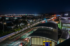 above the san bruno bart station (pbo31) Tags: bayarea california nikon d810 color february 2018 winter boury pbo31 night dark black over lightstream traffic motion roadway sfo airport sanfranciscointernational sanbruno sanmateocounty travel aviation bart station highway 380 parking garage tanforan
