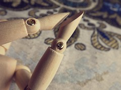 Fasteners in Place (José Miguel S) Tags: fasteners figure hands woodenmodel woodenfigure woodenmannequin woodenarticulatedmannequin articulations screws macrophotography macro macromondays happymonday hmm fastener