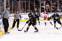 "Kansas City Mavericks vs. Allen Americans, February 24, 2018, Silverstein Eye Centers Arena, Independence, Missouri.  Photo: © John Howe / Howe Creative Photography, all rights reserved 2018 • <a style=""font-size:0.8em;"" href=""http://www.flickr.com/photos/134016632@N02/25629925847/"" target=""_blank"">View on Flickr</a>"