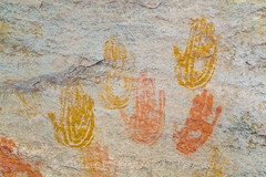 Colorful Handprints Created by Ancestral Puebloans at Cave Spring in Canyonlands National Park (Lee Rentz) Tags: anasazi ancestralpueblopeople ancestralpuebloan canyonlandsnationalpark cavespring cavespringtrail needlesdistrict theneedles america american archaeology archeology camp camping canyonlands early habitation hand handprints historic historical history indian inhabitants interpretation interpretive landscape nationalpark nationalparkservice nature northamerica old park past pictograph pictographs pigment print rockart source southernutah southwest southwestern spring trail usa utah water west yearround