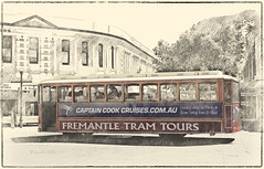 Fremantle Tram Tours (boeckli) Tags: fremantle westernaustralia tram trams australia australien westaustralien sevenstyles photoborder photoshopaction textures texturen texture textur vintage tourismus painterly outdoor writing sign text netartii 7dwf