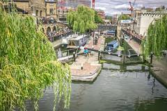 London 2017 (chrischampion2) Tags: london camden camdentown camdenlock canal regentscanal grandunioncanal canalboats boats narrowboats people crowds trees willowtrees