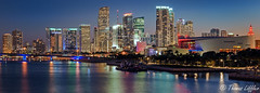 Miami twilight reflection (funtor) Tags: night blue light skyline city twilight colors panorama miami florida