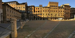 Piazza del Campo, Siena, Italy. (edk7) Tags: nikond300 sigma1224mm14556dghsmex edk7 2008 italy italia tuscany toscana siena piazzadelcampo townsquare architecture building oldstructure residence café restaurant hotel pavement brick truck signage shadow sky tower city cityscape urban herringbonepavingstones awning crenelations spqrshewolf bollard railing