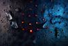 Fire under the surface. The ice has melted. (Gudzwi) Tags: surface oberfläche zink zinc lichtpunkte lightpoints speckled spotted gefleckt gesprenkelt fleckig mottled macromondays macromondaysjanuary22speckled happymacromondays hmm fire feuer rotundblau roteslicht redandblue redlight flecken spots wassertropfen wasser water waterdrops macro makro madeofmetal metal metall texture textur abstract abstrakt löcher holes glühen glow kanne can closeup