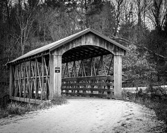 Bridge 18 (iAM Peterson) Tags: bridge coveredbridge winter outdoors snow trail hike explore nature cold kickapoovalleyreserve lafarge wisconsin driftless sony a7rii canon blackandwhite monotone