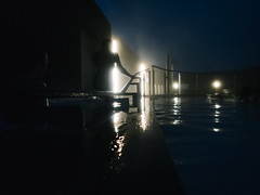 Blue Lagoon (BurlapZack) Tags: olympustoughtg5 vscofilm pack01 bluelagoon iceland reykjavik reykjanespeninsula grindavík geothermalspa pool spa geothermal lagoon water reflection night nighttime availablelight lowlight highiso silhouette hand handrailhand railbatheswimwadesteamtravelvacationwide anglebokehdofpoint shootcompactdigital compactadvanced compactwaterproof camerawaterproof compacttough compact raw