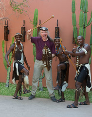 I Have a Club (naturalturn) Tags: group man men costume tribal gypsy shirtless hat club weapon shield waldemar victoriafallsresort victoria falls resort livingstone zambia image:rating=5 image:id=208649