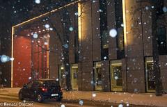 Let It Snow (kaprysnamorela) Tags: snow winter street flakes car night building light nikond3300 outdoor city philharmonia kielce poland