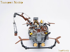 04_Transport_Airship (LegoMathijs) Tags: lego moc legomathijs steampunk mine transport airship crane cargo pickaxe ore trade propellors steampowered space scifi minifig exhaust miners mining discovering discovery