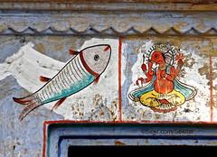 Wall painting, Old Town, Varanasi (Sekitar) Tags: uttar uttarpradesh india inde varanasi benares ganga ganges river riverside wall painting old town ganesha earthasia ganesh
