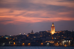 Galata Tower after a Warm Sunset (aksoykaan1) Tags: galata galatatower historical tower city cityscape light sunset istanbul color colors canon canon6d 6d sigma sigma120300 telephoto 120300mm 300mm