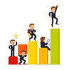 Stages of business development and growth (ludovik.contato) Tags: flat icon vector isolated illustration object white template background design concept metaphor cartoon clipart character growth people business man team teamwork leader leadership market startup manager idea endeavor struggle growing lightbulb research development analysis winner achievement person businessman strategy strategic funny statistical data statistics graphic diagram working building stage project