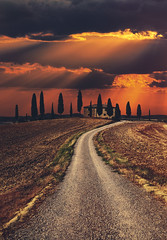 Italy, Tuscany (tothfrantisek) Tags: italy tuscany toscana sunset gladiator trees house road landscape clouds sky ladolcevita