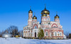 Old Russian Church. (Oleg.A) Tags: sunny landscape winter church nature building brick cathedral outdoor churchoftheascension materials villiage snow dome countryside blue colorful architecture chapelle bell orange orthodox midday sky cross penzaregion russia spassk field catedral chapel landscapes noon outdoors penzenskayaoblast ru