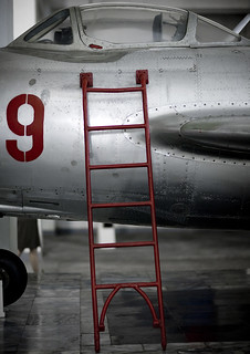 Ladder on a war plane in the victorious fatherland liberation war museum, Pyongan Province, Pyongyang, North Korea