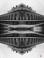 Monumental Illusion (Shikher Singh) Tags: humayunstomb mughalarchitecture architecture delhi travel tourism reflection morph worldheritagemonument mausoleum humayun blackandwhite fog morning shikhersimagery