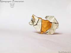 Newspaper Pomeranian - Barth Dunkan. (Magic Fingaz) Tags: anjing barthdunkan chien chó dog hond hund köpek origami perro pies пас пес собака หมา 개 犬 狗