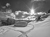 In the Heart of Winter - Im Herzen des Winters (W_von_S) Tags: winterlandschaft winter winterpanorama wintertime winterwonderland snow snowlandscape snowscape snowshoehike schneeschuhwanderung schneelandschaft schnee sudelfeld bavaria bayern germany deutschland berge mountains alpen alps hütte sonne sunset sonnenuntergang sony sonyilce7rm2 schwarzweis blackwhite monochrome monochrom trees bäume clouds wolken wvons werner outdoor landschaft landscape panorama sunburst sonnenstern skancheli