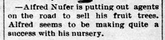 1890 - Alfred Nufer nursery - Enquirer - 26 Dec 1890