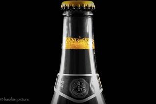 Macro bubble inside bottle