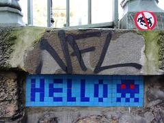 PA 0362 réactivé / Space Invader (février 2018) (Archi & Philou) Tags: spaceinvader pixelart streetart réactivation reactivated sticker pont mosaïque bleu blue mosaic carreau tiles hello