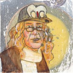 # 251 2018-01-10 (h e r m a n) Tags: herman illustratie tekening 10x10cm tegeltje drawing illustration karton carton cardboard kunst art portrait portret pet cap