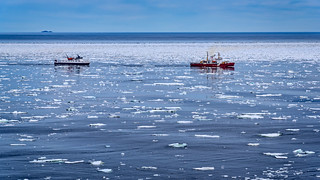 Canadian ice breaker makes a path for the Newfoundland/Labrador ferry in mid-June