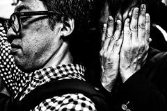 Last train craze...... (Victor Borst) Tags: street streetphotography streetlife reallife real realpeople asia asian asians faces face candid travel travelling trip traveling urban urbanroots urbanjungle blackandwhite bw mono monotone monochrome mankind tokyo shimbashi salarymen fridaynight yamanote people crushed metro subway sub japan japanese