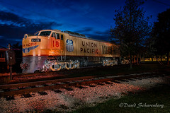 Lightpainting at IRM (dscharen) Tags: illinoisrailwaymuseum irm unionpacific up turbine unionpacific18 bigblow lightpainting bluehour union illinois trains