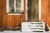 Still waiting (mirri_inc) Tags: house winter bad ugly broken steps stairs snow toy teddy abandoned orange brown white decay ice window rust paint