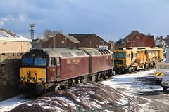 57316 & DR77908 stabled at Arbroath (60044) Tags: west coast railways 57316 sb rail ballast regulator arbroath aviemore snow sky storm flickr dr77009 network tamper 6j14