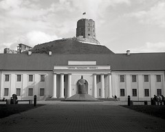 Lithuania National Museum and Gediminas Tower (paulgumbinger) Tags: believeinfilm shootfilm yashica yashicad d tlr ilford fp4 125 monochrome blackandwhite 120 medium format film vilnius lithuania national museum gediminas tower fortress castle hilltop hill top baltic north eastern europe