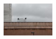 Sans titre (hélène chantemerle) Tags: murs lampadaire parking camionnette ciel nuages gris beige walls streetlight van sky clouds gray