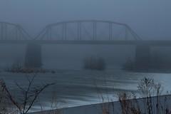 Railroad bridges in fog - IMG_1840 (T. Brian Hager) Tags: railroad railroadbridge bridges ns norfolksouthern canon canoneos7d digital delawareriver lehighriver dam water foggy fog morning