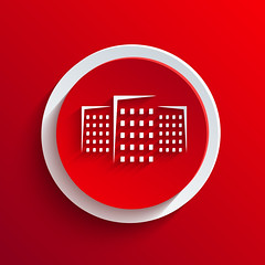 Vector red circle icon. Eps10 (siancom) Tags: icon estate real illustration symbol home house design roof building business abstract shape residential architecture set graphic sign construction image template silhouette element town cottage exterior district investment tower clean type concept buy clip structure urban skyline mansion elements contemporary modern outdoors city identity branding office realty art frame white