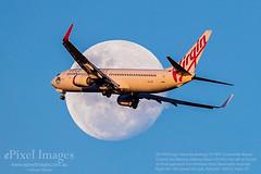 VH-YFR Virgin Australia Boeing 737-8FE 'Scamander Beach' crosses the Waxing Gibbous Moon (95.8%) (ePixel Images) Tags: vhyfr virginaustralia boeing7378fe boeing boeing737 scamanderbeach waxinggibbousmoon wormmoon moon aircraft finalapproach brisbane australia flight va1109