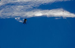 Into the blue yonder (Skifahrt ins Blau) (stephencharlesjames) Tags: ski skiing skier sport action winter sports outdoors mountain slope