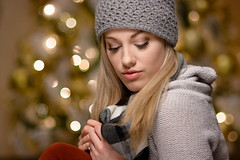 Kristina - Studio Portrait (Winter look) by bonavistask8er - More Christmas tree bokeh and festive goodness with Kristina