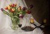 Red Wine and Tulips (suzanne~) Tags: stilllife bodegon tabletop candle wine red tulip flower vase glass decanter tablecloth lensbaby softfocusoptic