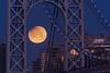 George Washington Bridge Moonset (jessicaweinbergmcclosky) Tags: gwb georgewashingtonbridge manhattan newjersey newyork washingtonheights eclipse lunareclipse moon