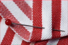 Stuck. Vaulting stick in the carpet? (Gudzwi) Tags: nadel needle stecknadel pinforsewing streifen stripes linesandstripes linienundstreifen stecken stuck macro makro mm hmm detail macroorcloseup macromondays macromondaysfebruary19fastener fasteners pin redandwhite rotweis rotundweis nähen sewing stoff cloth textil textile fabric texture textur sruktur structure gewebt woven simple schlicht
