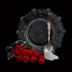 To Sweeten or Not to Sweeten (njk1951) Tags: stilllife raspberries fruit glass plate spoon antiquespoon silverspoon etchedglassplate sugar redraspberries onblack blackbackground sweeten berries