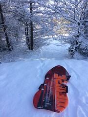 Red sledge (markshephard800) Tags: sledge sunlight red white winter paisley scotland uk renfrewshire wintry