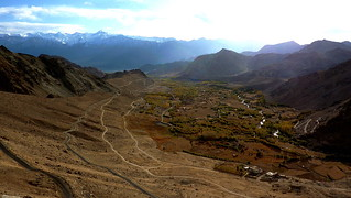 Bendy road, fertile valley, snowcaped mountains, all of Ladakh in a picture